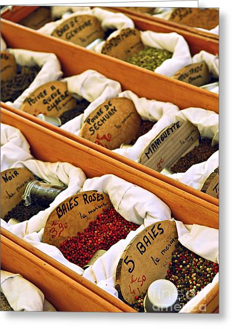 Label Greeting Cards - Spices on the market Greeting Card by Elena Elisseeva