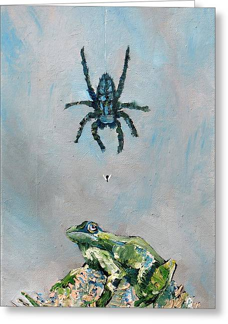 Spider Paintings Greeting Cards - SPIDER FLY and TOAD Greeting Card by Fabrizio Cassetta