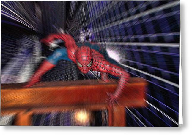 Spider-man Greeting Cards - Spider Man in Action Greeting Card by Douglas Barnard