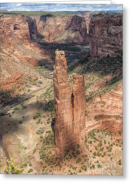 Spider Rock Art Greeting Cards - Spider Rock - Canyon De Chelly Greeting Card by Sandra Bronstein