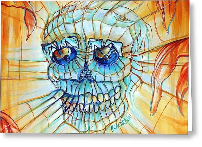 Web Paintings Greeting Cards - Spider Skull Blue ORange Greeting Card by Heather Calderon