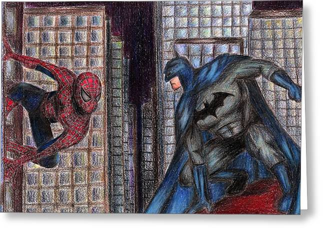 Batman Drawings Greeting Cards - Spiderman VS. Batman Greeting Card by Claudia Gonzalez