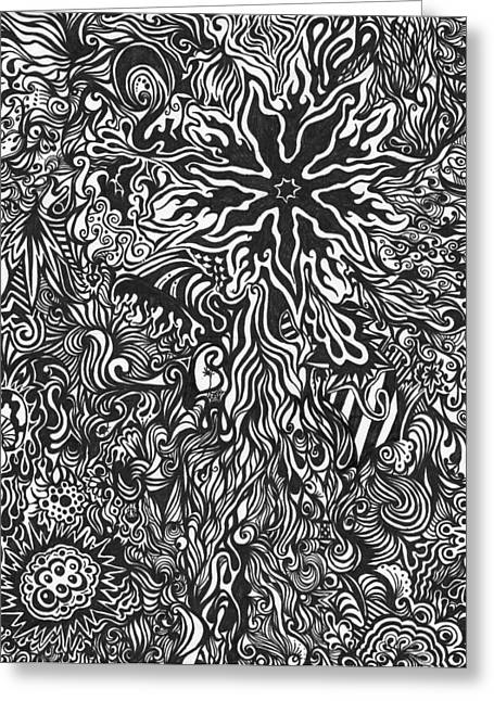 Swirls Drawings Greeting Cards - Spiders Web Greeting Card by Mandy Shupp