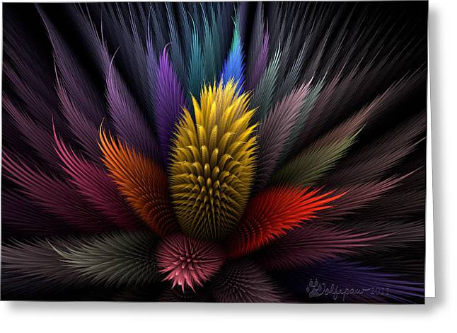 Abstract Digital Greeting Cards - Spiky Botanical Greeting Card by Peggi Wolfe