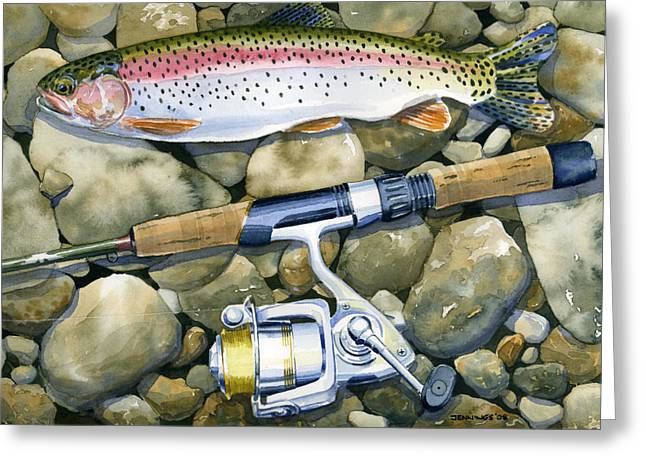 Fishing Creek Greeting Cards - Spin Trout Greeting Card by Mark Jennings