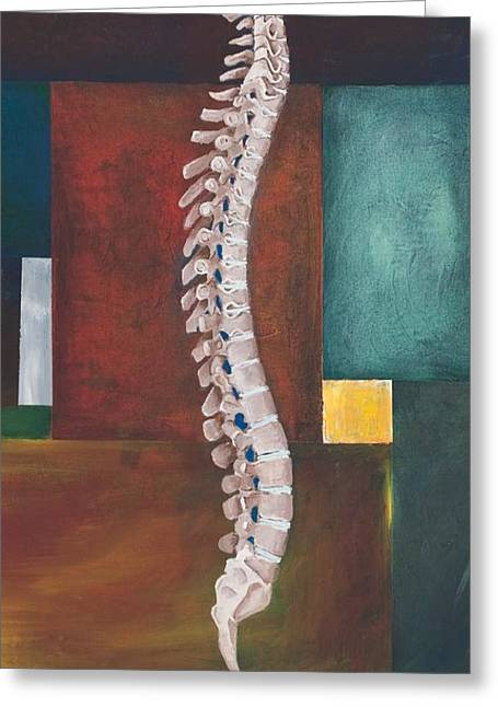 Yoga Greeting Cards - Spinal Column Greeting Card by Sara Young