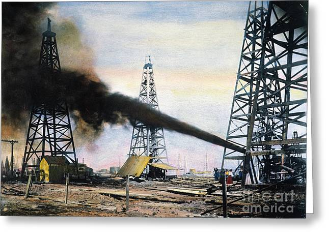 Turn Of The Century Greeting Cards - SPINDLETOP OIL POOL, c1906 Greeting Card by Granger