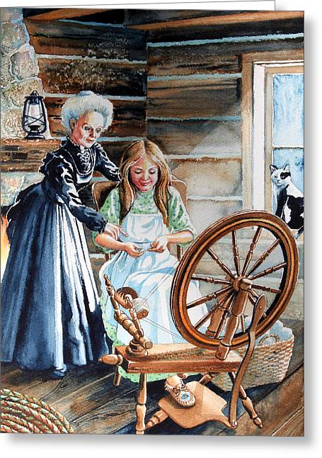 Pioneer Illustration Greeting Cards - Spinning Wheel Lessons Greeting Card by Hanne Lore Koehler