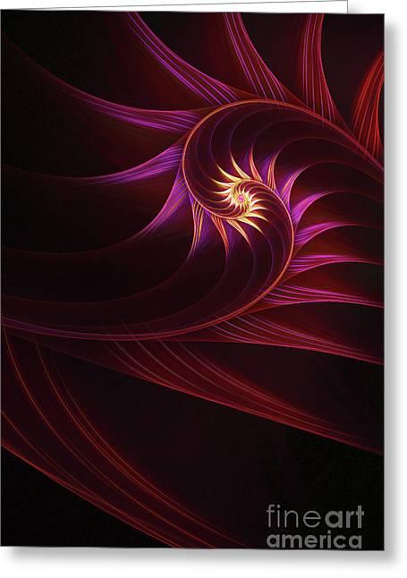 Apophysis Digital Art Greeting Cards - Spira mirabilis Greeting Card by John Edwards