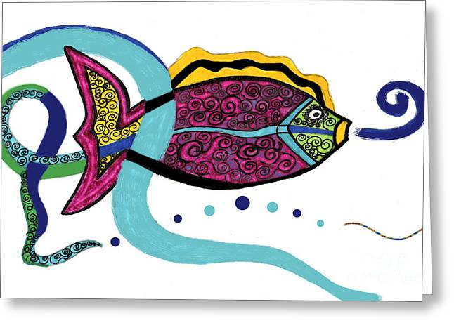 Abstract Digital Drawings Greeting Cards - Spiral Fish Greeting Card by Christine Perry
