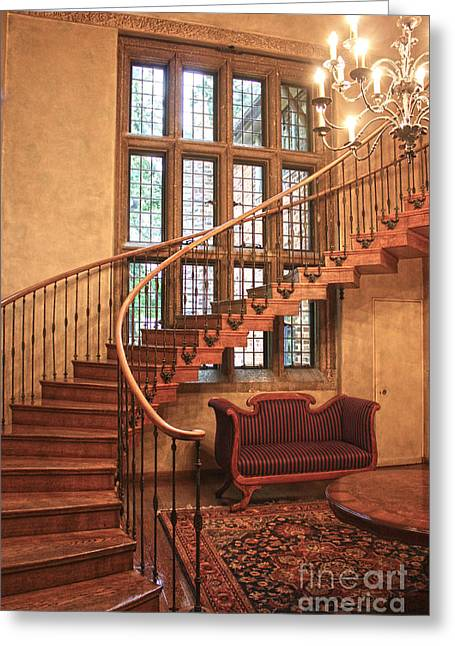 Stair Case Greeting Cards - Spiral Staircase Greeting Card by David Bearden