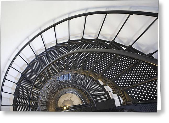 Winding Staircases Greeting Cards - Spiral Stairway In Yaquina Head Greeting Card by Michael Interisano