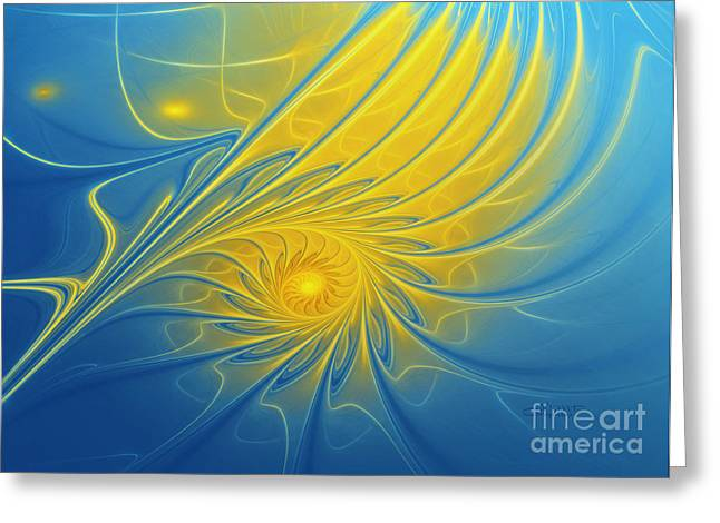 Repetition Greeting Cards - Spiral Sun Greeting Card by Jutta Maria Pusl