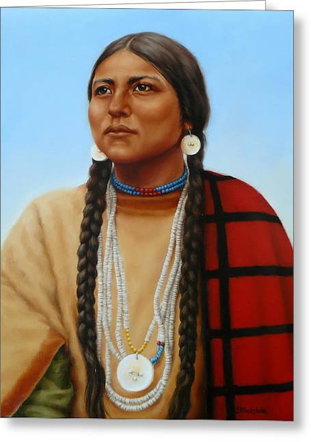Margaret Stockdale Greeting Cards - Spirit And Dignity-Native American Woman Greeting Card by Margaret Stockdale