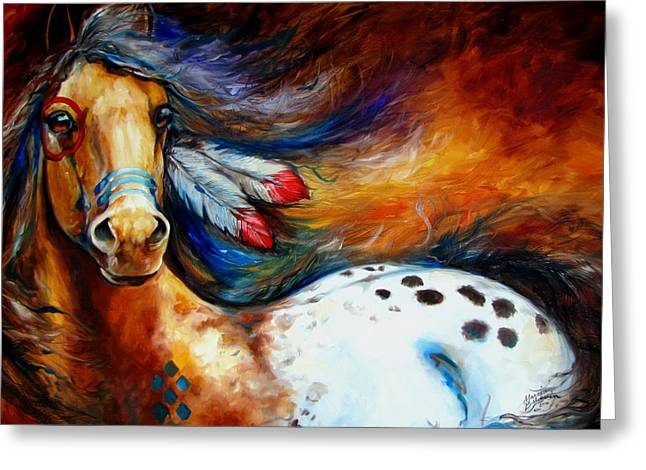 Pony Greeting Cards - Spirit Indian Warrior Pony Greeting Card by Marcia Baldwin