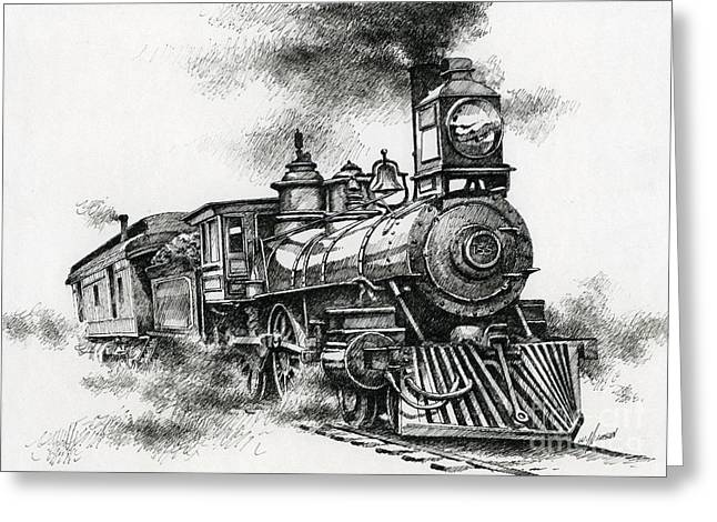Pen And Ink Drawing Greeting Cards - Spirit of Steam Greeting Card by James Williamson