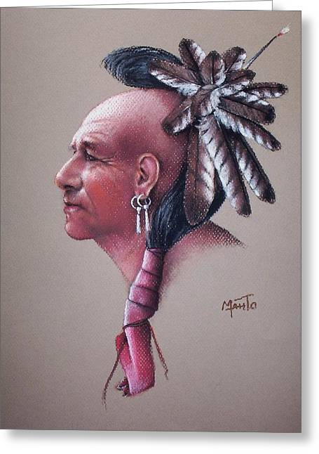 Native American Spirit Portrait Greeting Cards - Spirit of the Owl Greeting Card by Mahto Hogue
