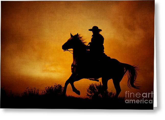 Silhouettes Of Horses Greeting Cards - Spirit of the West Greeting Card by Heather Swan