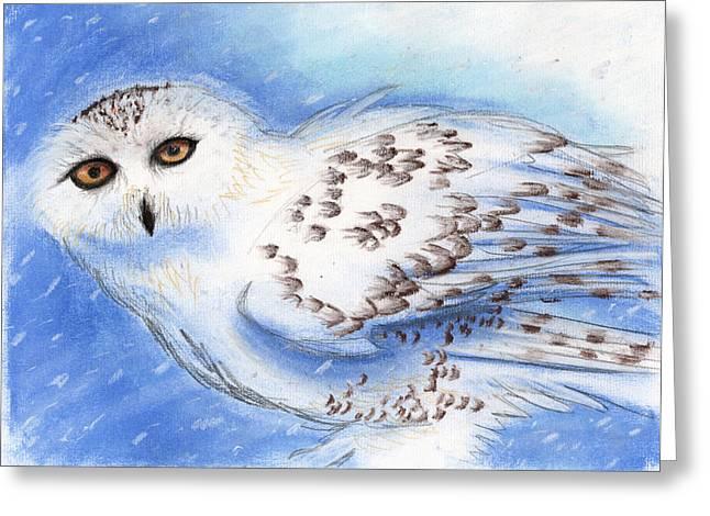 Spirit Pastels Greeting Cards - Spirit Owl Greeting Card by Janelle Schneider