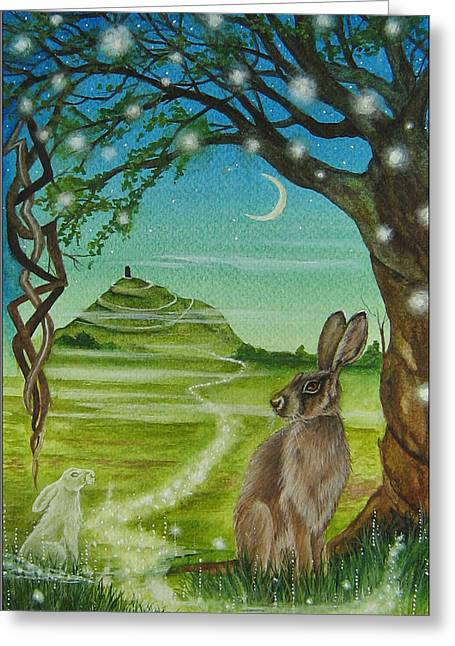 Tor Paintings Greeting Cards - Spirit Path to Avalon Greeting Card by Lisa OMalley