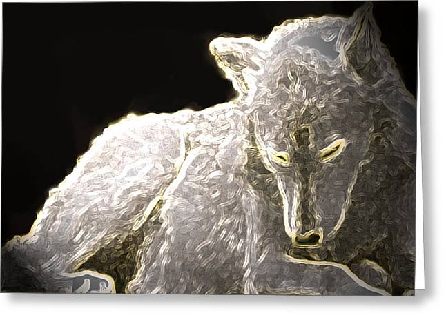 Did You See That Greeting Cards - Spirit Wolf Greeting Card by Debra     Vatalaro