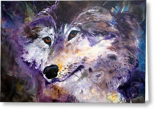 Spirit Wolf Greeting Card by Sherry Shipley
