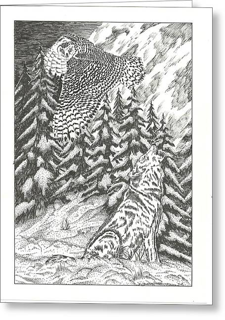 Snowy Night Drawings Greeting Cards - Spirits of The Moon Greeting Card by Thomas  Ferguson