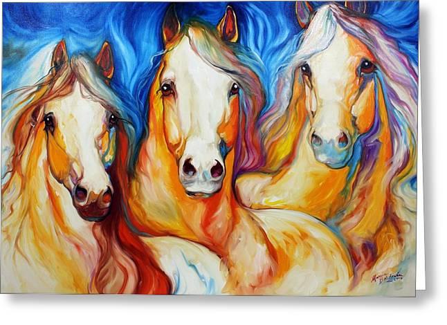 Wild Horse Greeting Cards - Spirits Three Greeting Card by Marcia Baldwin