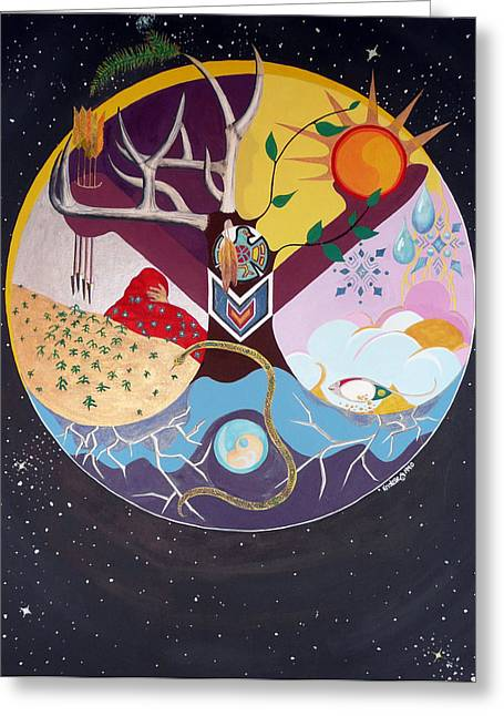 Native American Indian Medicine Wheel Greeting Cards - Spiritually Speaking Mother Earth Greeting Card by Kristelle Ulrich