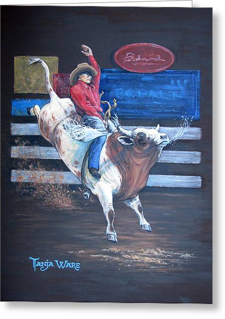 Bull Riding Greeting Cards - Spitting Bull  Greeting Card by Tanja Ware
