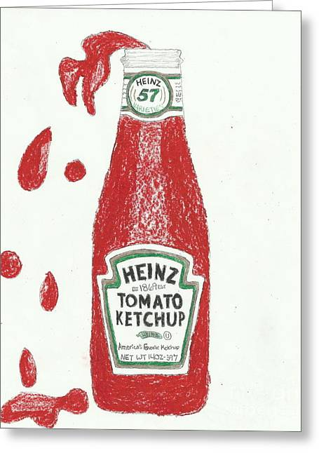 Heinz Ketchup Greeting Cards - Splash Ketchup Greeting Card by Jasmine Norris-Dixson