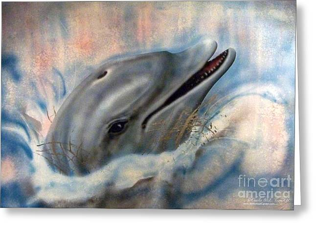 Ocean Mammals Mixed Media Greeting Cards - Splash of Freedom Greeting Card by Charles Taggart