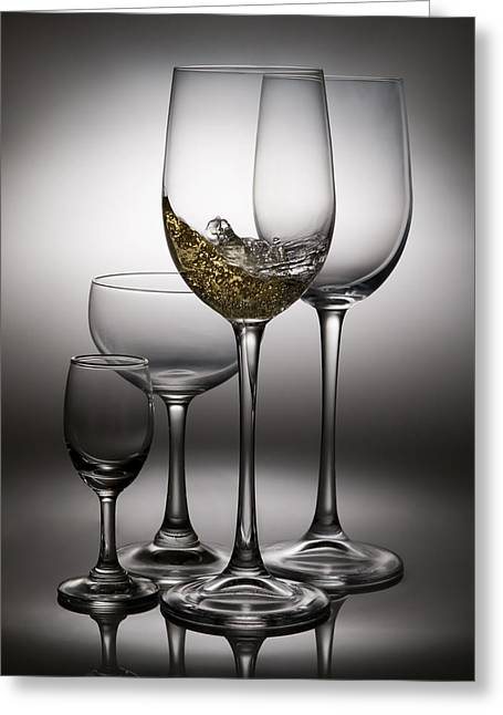 Wine Pour Greeting Cards - Splashing Wine In Wine Glasses Greeting Card by Setsiri Silapasuwanchai
