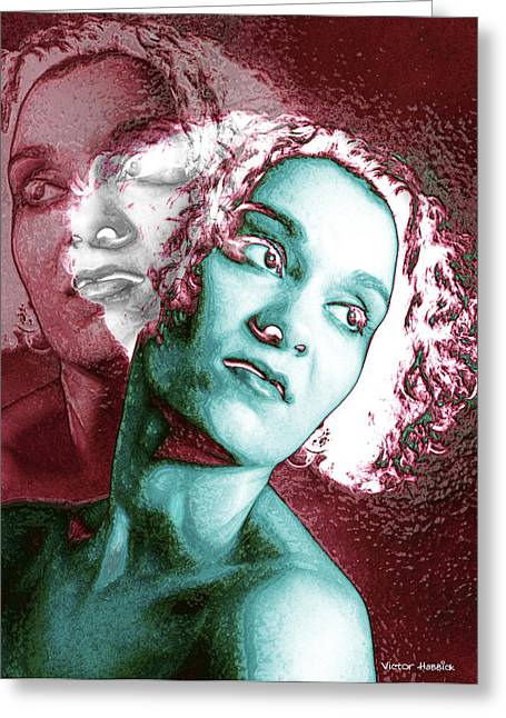 Hallucination Greeting Cards - Split Personality Greeting Card by Victor Habbick Visions