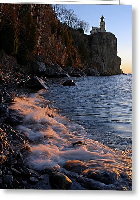 Wrapped Canvas Greeting Cards - Split Rock Lighthouse at Dawn Greeting Card by Larry Ricker