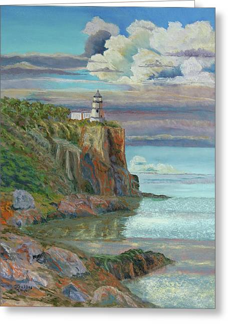 Cliffs Pastels Greeting Cards - Split Rock Lighthouse Greeting Card by James Geddes