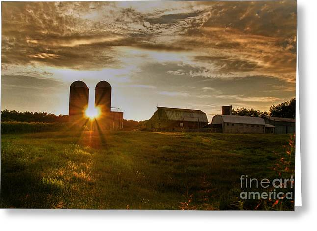 Rural Landscapes Greeting Cards - Split Silo Sunset Greeting Card by Benanne Stiens