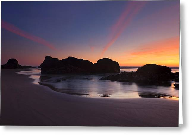 Cannon Beach Greeting Cards - Splitting the Heavens Greeting Card by Mike  Dawson