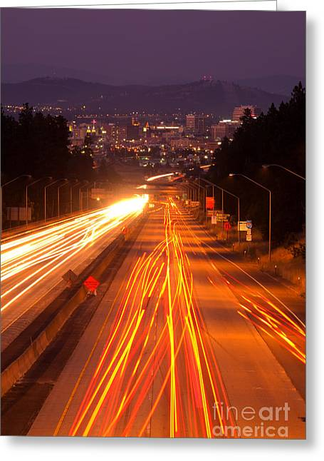 Spokane At Night Greeting Card by Beve Brown-Clark Photography