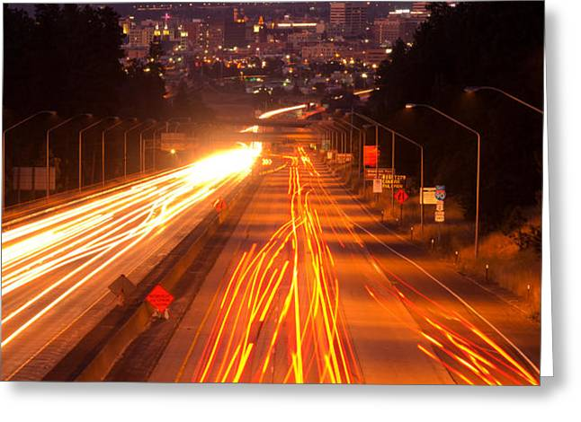 Spokane at Night Greeting Card by Reflective Moment Photography And Digital Art Images