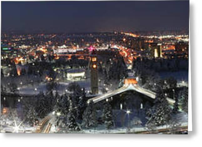 Spokane Greeting Cards - Spokane DT panorama Greeting Card by Dan Quam