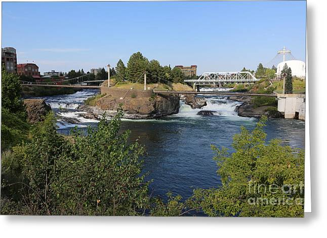 """spokane Falls"" Greeting Cards - Spokane Falls HDR Greeting Card by Carol Groenen"