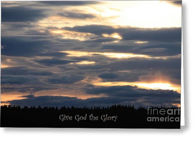 Spokane Sunset - Give God the Glory Greeting Card by Carol Groenen