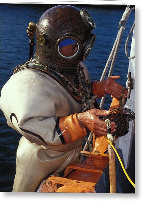 Hard Hats Greeting Cards - Sponge Diver Greeting Card by Carl Purcell