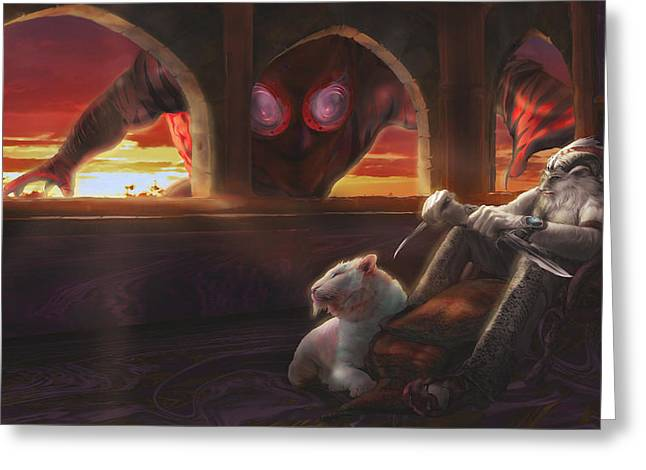 Castle Room Greeting Cards - Spontaneous Tiefling Greeting Card by Rick Ritchie