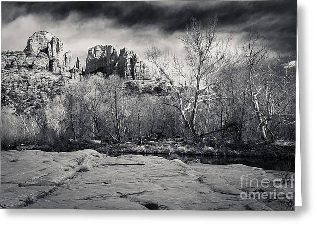 Cathedral Rock Greeting Cards - Spooky Castle Rock Greeting Card by Darcy Michaelchuk