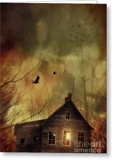 Dream Like Greeting Cards - Spooky house at sunset  Greeting Card by Sandra Cunningham
