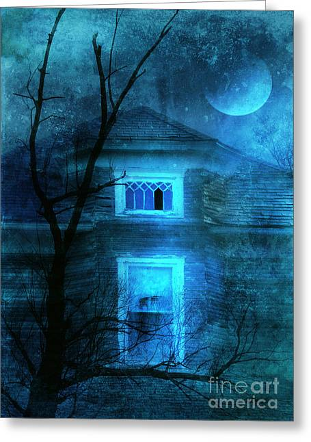 Haunted House Photographs Greeting Cards - Spooky House with Moon Greeting Card by Jill Battaglia