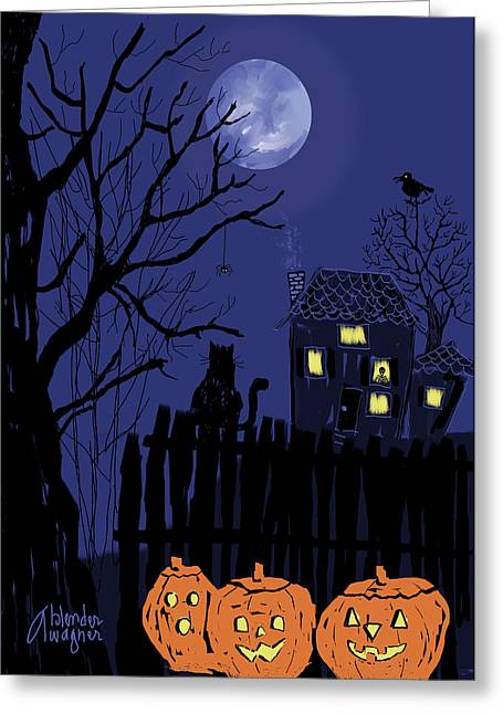 Jackolanterns Greeting Cards - Spooky Night Greeting Card by Arline Wagner
