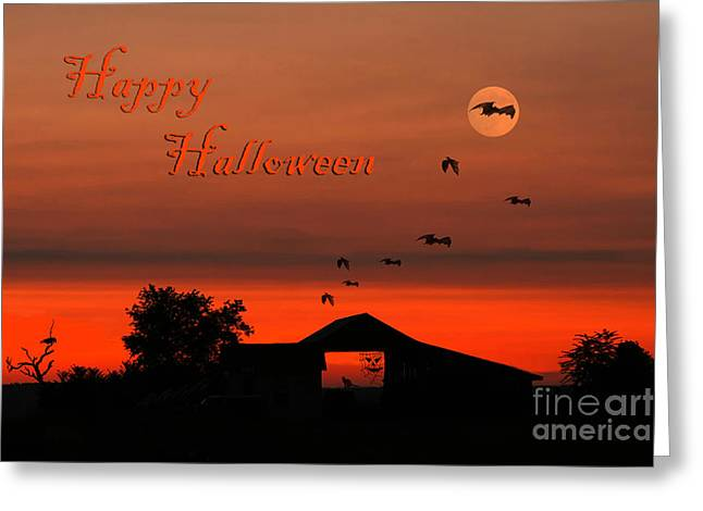 Black Cat Hills Greeting Cards - Spooky Night Greeting Card by Darren Fisher